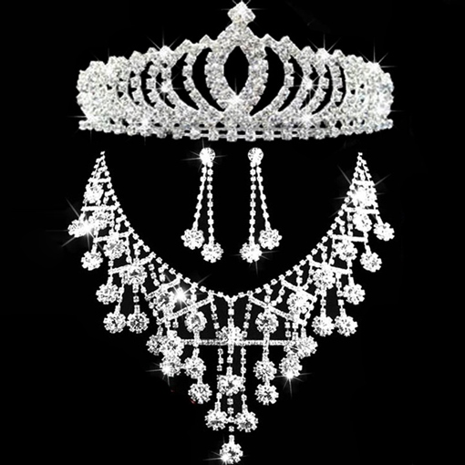 Tiara Earrings Necklace Diamante Wedding Jewelry Sets