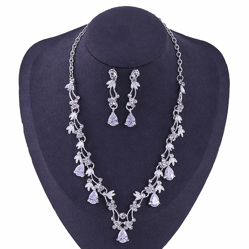 Korean Gemmed Floral Wedding Jewelry Sets