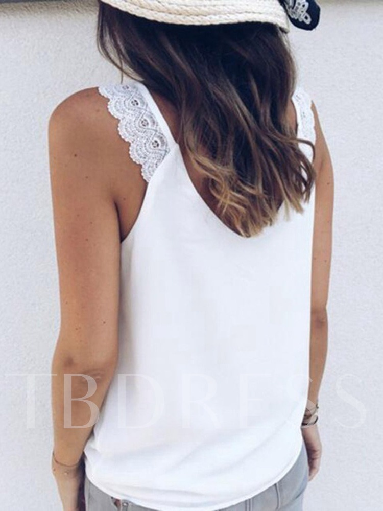 Summer Lace Cotton Blends Standard Women's Tank Top