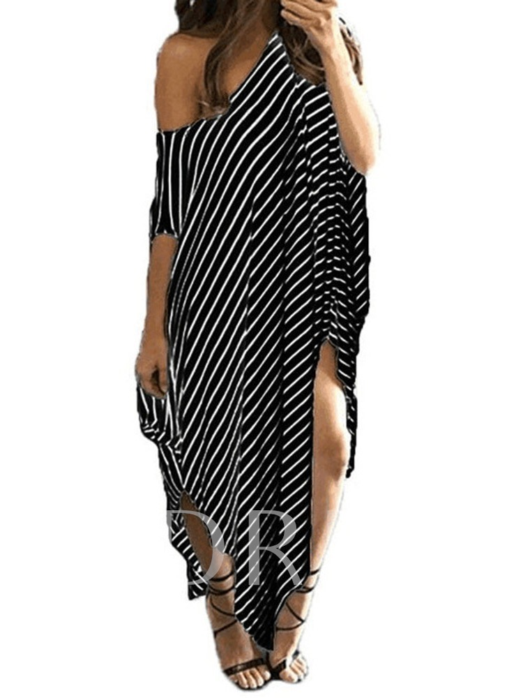 Oblique Collar Asymmetric Half Sleeve Stripe Women's Maxi Dress