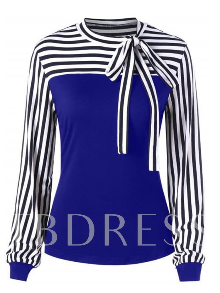 Mid-Length Long Sleeve Stripe Casual Women's T-Shirt