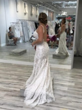 Spaghetti Straps Backless Mermaid Lace Wedding Dress for Hall