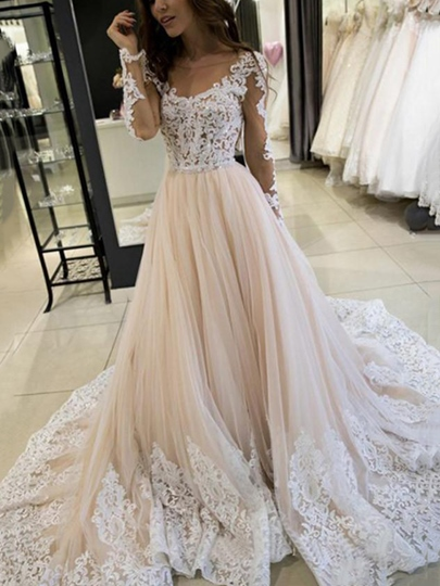A-Line Appliques Long Sleeves Wedding Dress 2019 A-Line Appliques Long Sleeves Wedding Dress 2019