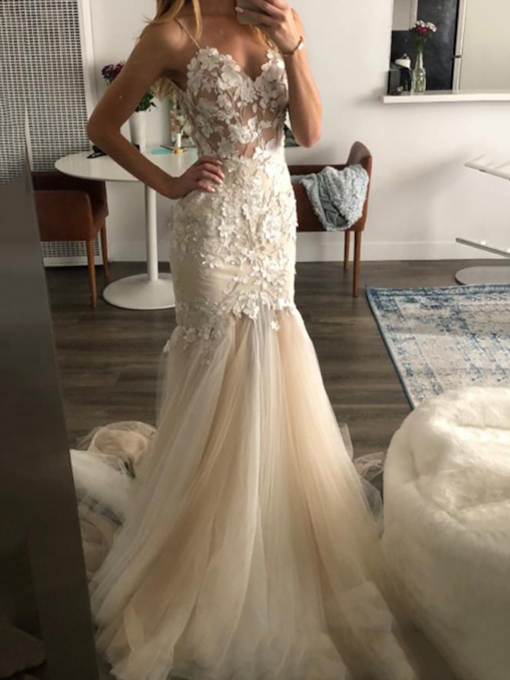 Spaghetti Straps Appliques Mermaid Wedding Dress 2019
