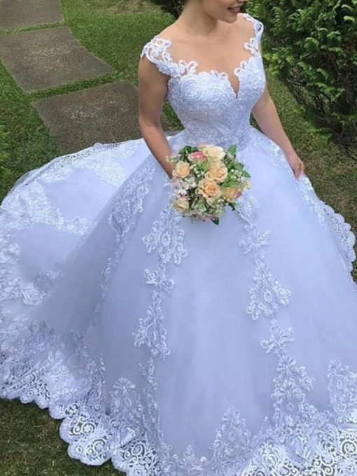Illusion Neck Court Train Appliques Ball Gown Wedding Dress 2019