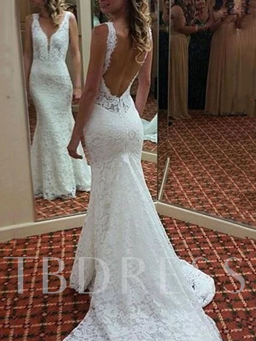 Mermaid Straps Backless Lace Wedding Dress 2019