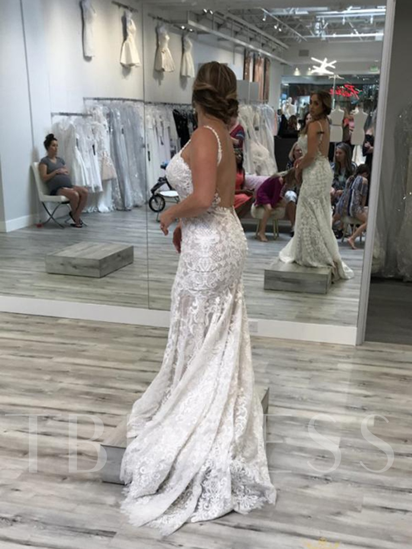 Backless Spaghetti Straps Mermaid Lace Wedding Dress 2019