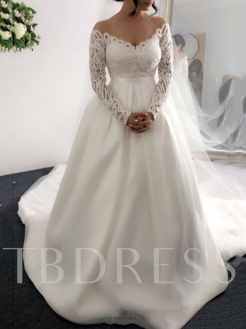 Ball Gown Long Sleeves Lace Wedding Dress 2019