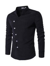 Plain Casual Stand Collar Asymmetric Single-Breasted Men's Shirt