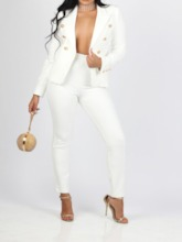 Plain Fashion Button Jacket Double-Breasted Women's Two Piece Sets