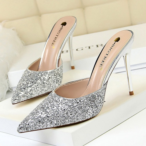 376acc693bfa7f Glitter Slip-On Stiletto Heel Closed Toe Women s Sandals