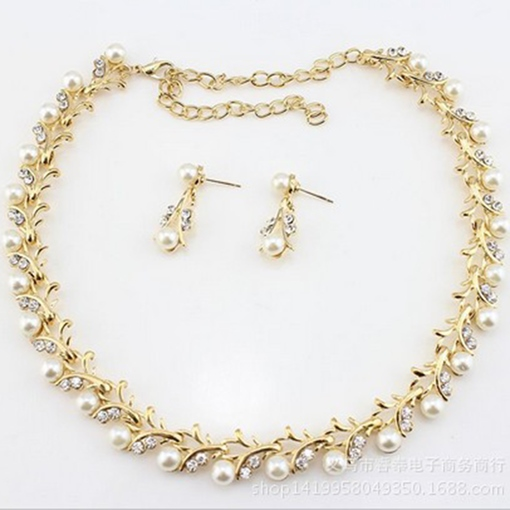 Pearl Inlaid Necklace Korean Jewelry Sets (Wedding)