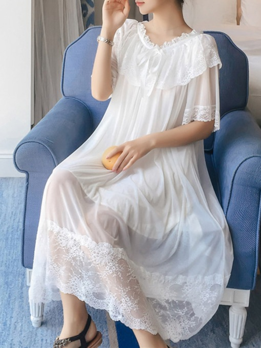 Lace Loose Cute Ruffled Collar Women's Nightgown