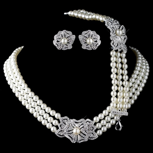Necklace Korean Diamante Pearls Jewelry Sets (Wedding)
