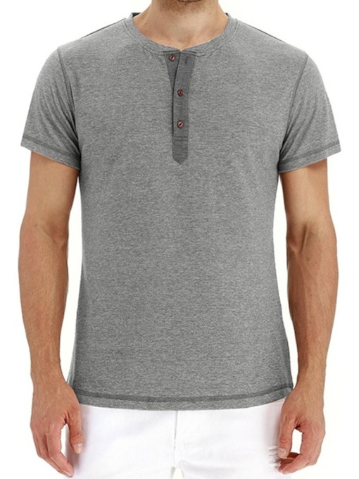 Button Plain Round Neck European Single-Breasted Men's T-shirt