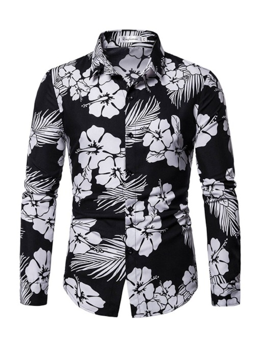 Floral Print Casual Lapel Single-Breasted Men's Shirt