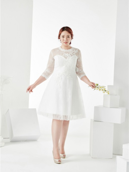 3/4 Length Sleeves Zipper-Up A-Line Scoop Knee-Length Lace Cocktail Dress