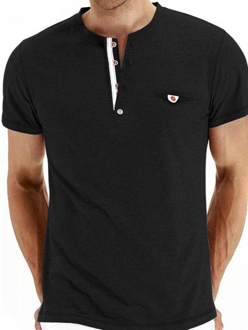 Plain Round Neck Casual Single-Breasted Men's T-shirt