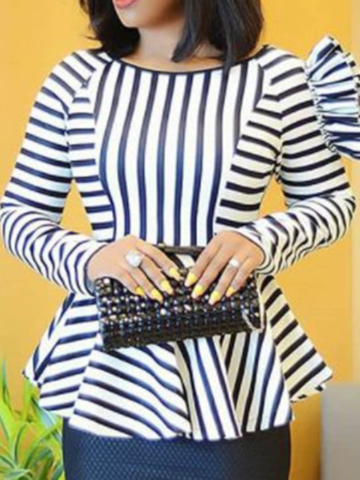 Stripe Patchwork Round Neck African Fashion Women's Blouse