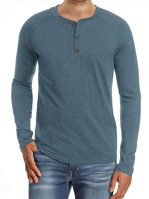 European Round Neck Button Plain Long Sleeve Men's T-shirt