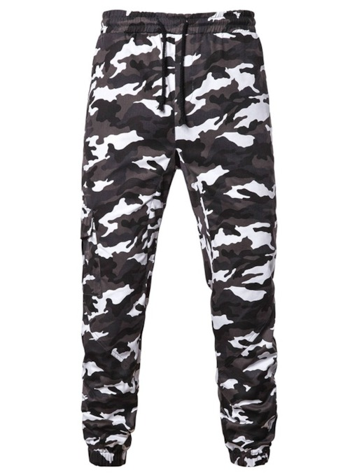 Print Camouflage Lace-Up Men's Casual Pants