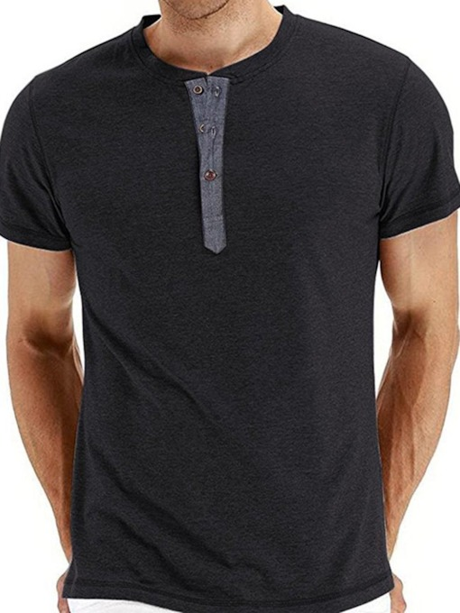Button Plain Round Neck Casual Single-Breasted Men's T-shirt