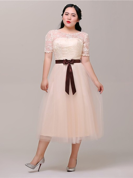 Scoop Short Sleeves Tea-Length Lace-Up A-Line Cocktail Dress