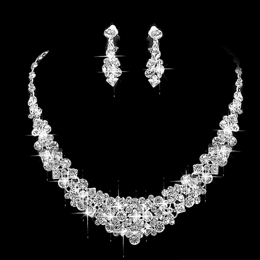 Gemmed Floral Korean Jewelry Sets (Wedding)