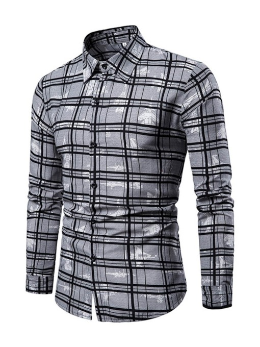 Lapel Print European Plaid Spring Men's Shirt