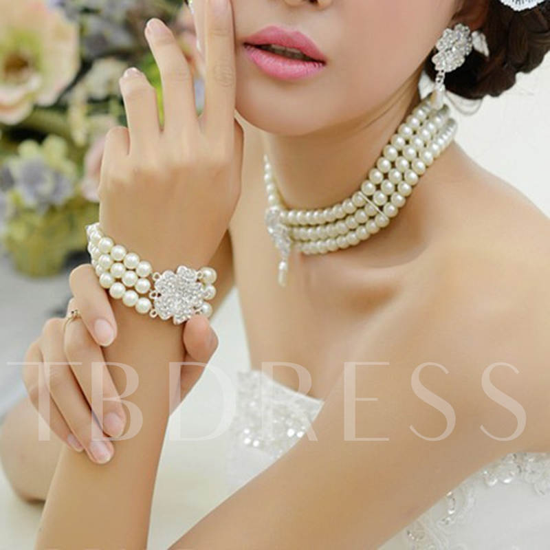 Gemmed Bracelet Korean Jewelry Sets (Wedding)
