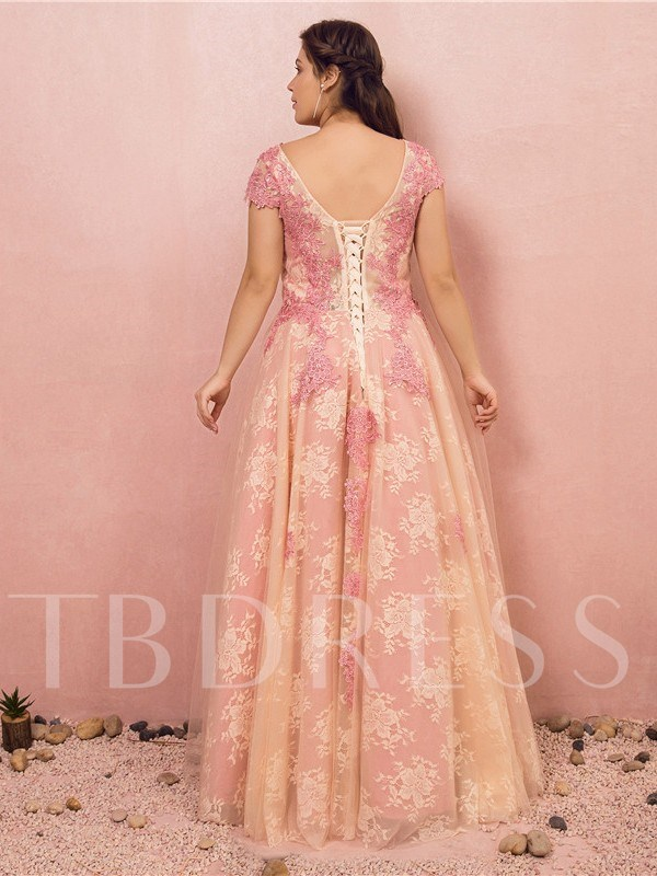 A-Line Floor-Length Short Sleeves Lace Prom Dress 2019