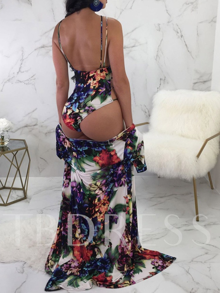 Floral One Piece Print Beach Look Women's Swimwear