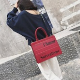 Letter PU Print Square Tote Bags