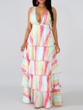 Sleeveless V-Neck Falbala Prints Women's Maxi Dress