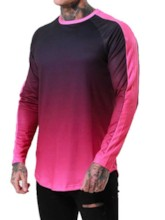 Gradient Casual Round Neck Long Sleeve Men's T-shirt