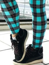 Plaid Color Block Sports Casual Women's Leggings