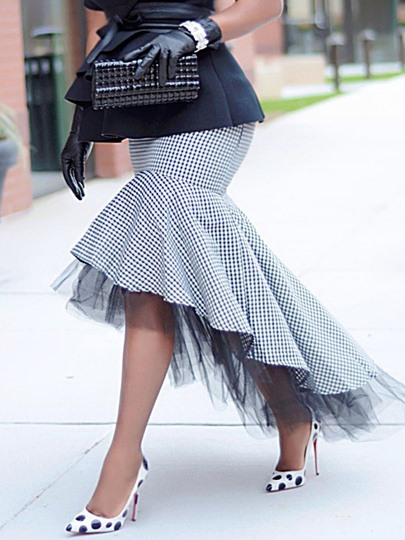 Floor-Length Asymmetrical Falbala Houndstooth Fashion Women's Skirt