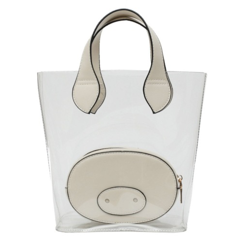 ABS Plastic Thread Plain Barrel-Shaped Tote Bags