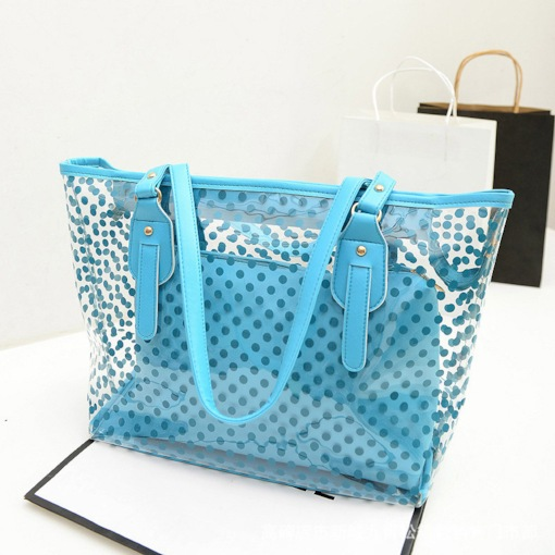 Belt-Decorated Polka Dots PVC Rectangle Tote Bags