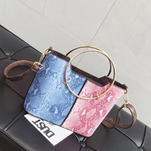 Serpentine Color Block PU Square Shoulder Bags