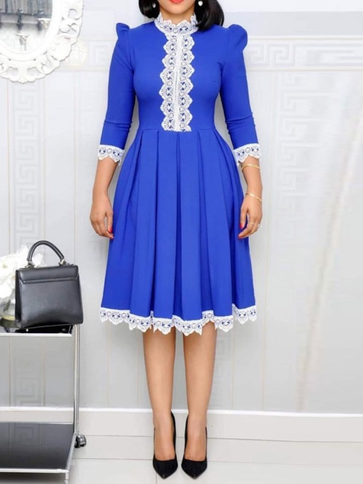 Lace Three-Quarter Sleeve Stand Collar Pleated Women's Day Dress