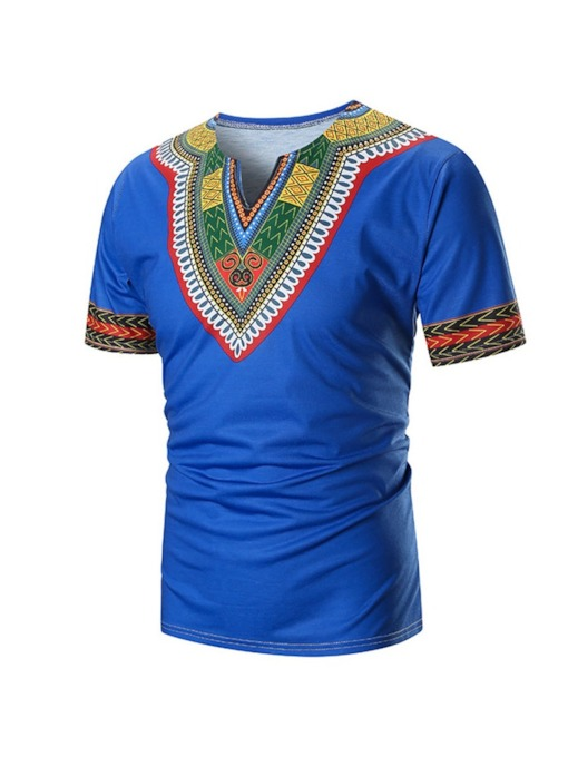 African Fashion Color Block Ethnic Straight Men's T-shirt