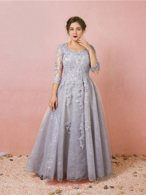 Scoop Floor-Length 3/4 Length Sleeves Lace Prom Dress 2019