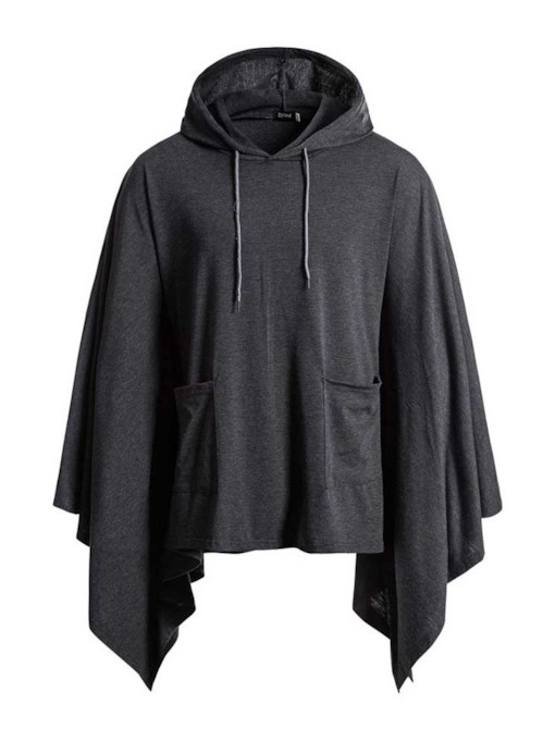Asymmetric Hooded Plain Loose Men's Jacket