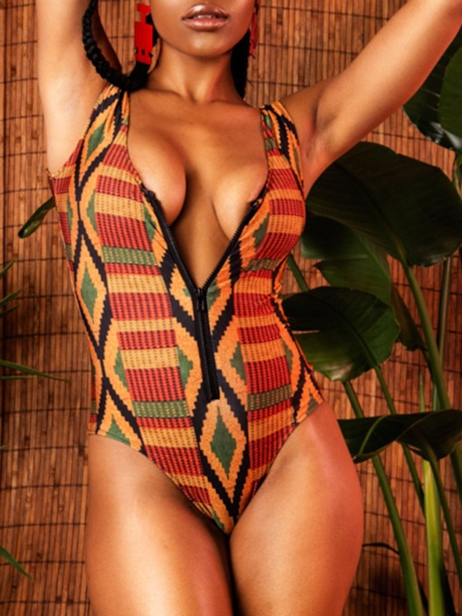 Print Geometric Sexy One Piece Women's Swimwear