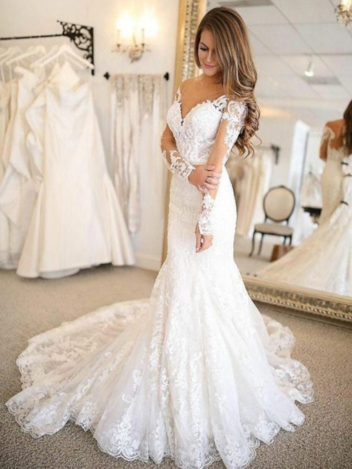 Appliques Mermaid Long Sleeves Wedding Dress 2019
