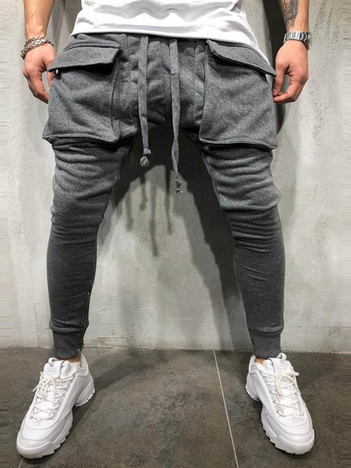 Pocket Plain Pencil Pants Lace-Up Men's Casual Pants