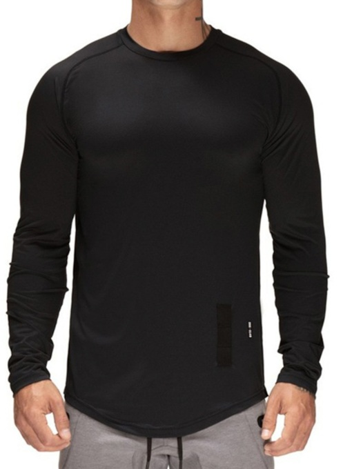 Casual Round Neck Letter Print Long Sleeve Men's T-shirt