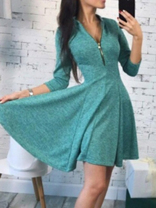 Three-Quarter Sleeve Stand Collar Zipper Women's Day Dress