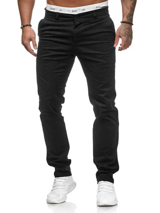 Plain Straight Mid Waist Men's Casual Pants